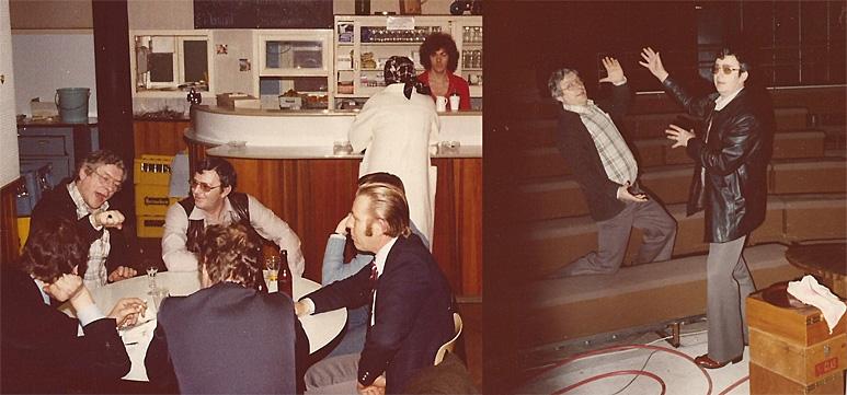 Op deze OmroepFoto : 2 maart 1978 in de kantine van de Cinetone Studio's te Duivendrecht. Theo Janse, met zonnebril.